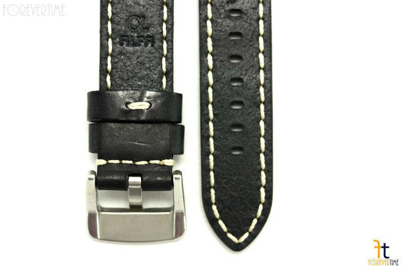24mm Nero in pelle Liscia Cinturino Orologio con / Cuciture per Luminox