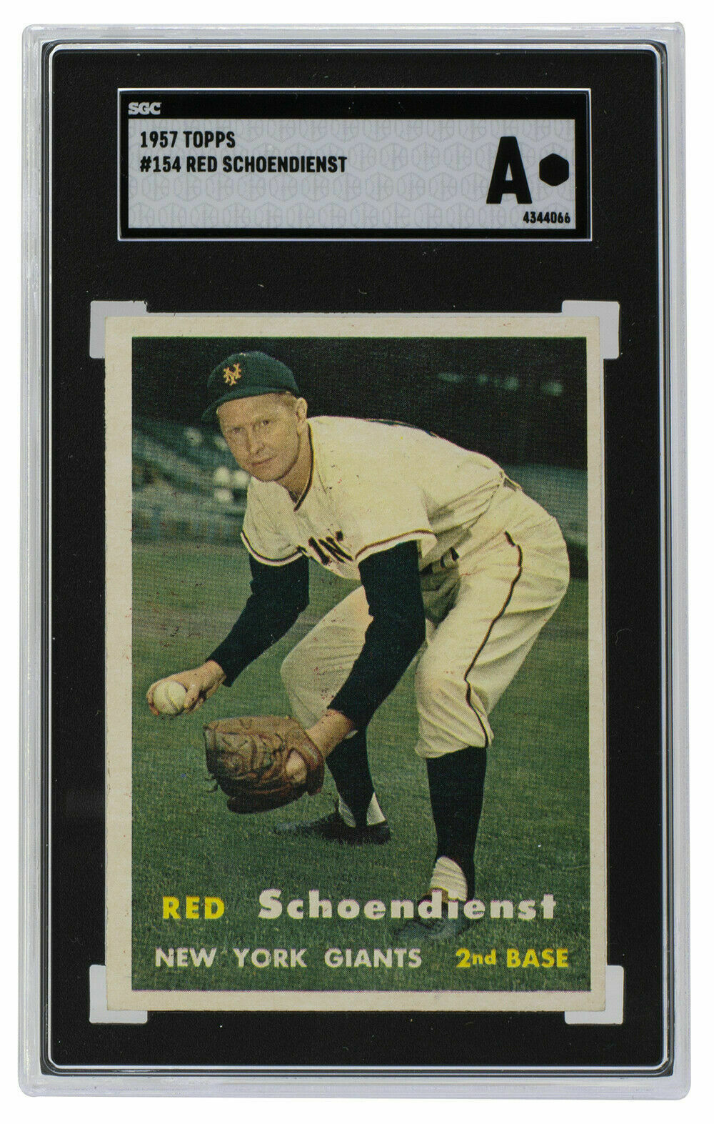 Red Schoendienst New York Giants 1957 Topps #153 Baseball Card SGC A - $164.33