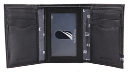 Nautica Men's Genuine Leather Credit Card Id Holder Trifold Wallet image 9
