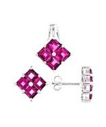 Pink Topaz  pendant and earrings set Princess cut  6.30 carats - $87.34