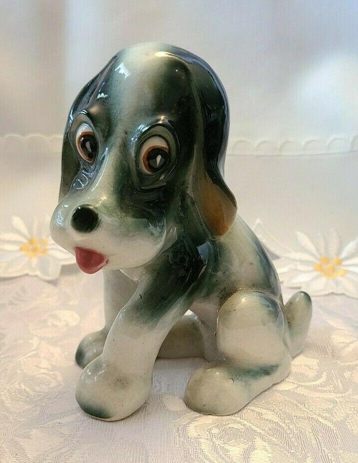 "Vintage Beagle Type Dog Figurine Porcelain Japan Grey White5"" Tall"