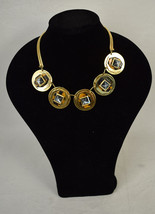 J. Crew Necklace Stacked Layers Pyramid Glass Tortoise Shell Gold Plate ... - $39.60
