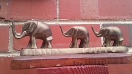 Vintage Brass Elephants on Wood Base Used Good Condition Unpolished - $34.65