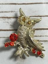 Vintage Silver Tone  Owl  Rhinestone Eyes  Brooch Pin - $9.82