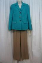 """Evan Picone Pantalon Costume Sz 14 Turquoise Sable """" Classique Temps """" C... - $79.66"""