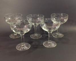 MCM Vintage Champagne Glasses Etched Grapes and... - $28.22