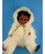 Alaska Eskimo Doll with Baby Papoose Dressed in White Rabbit Fur 11 inches - $15.83