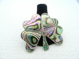 VTG Sterling Silver .925 TAXCO VJC Abalone Mother of Pearl Shamrock Brooch Pin - $99.00
