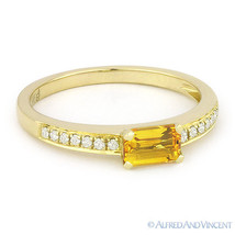 0.59 ct Baguette Cut Citrine Gemstone Round Diamond 14k Yellow Gold Promise Ring - €273,65 EUR