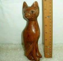 Cat Sculpture Hand Crafted Wood Carved Figurine Crazy Cat Lady Artsy Hom... - $17.81