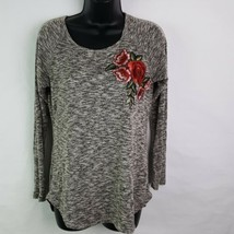 Pen Paper Womens Sweater Medium Black White Gray Marled Rose Embroidery ... - $16.73
