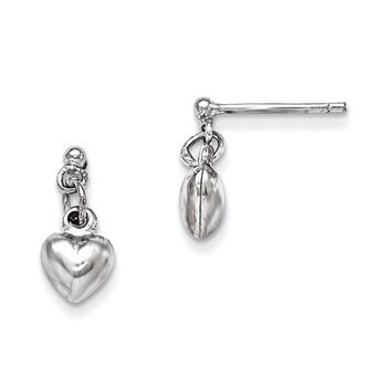 Primary image for Lex & Lu Sterling Silver RH Plated Child's Polished Heart Post Dangle Earrings