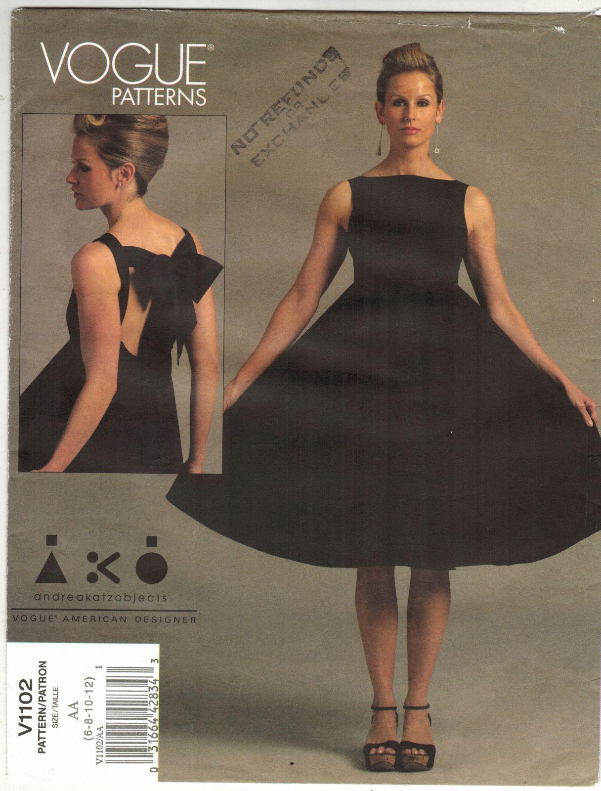 4bad11a6360da Misses Designer Andrea Katzobjects Open Back Tie Cocktail Dress Sew Pattern  6-12