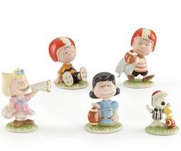 Lenox Peanuts Football Team 5 PC. Figurine Set Charlie Brown Snoopy & Pa... - $118.90