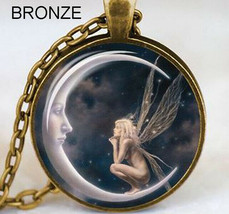 Fairy Sitting on Moon Claiming Pendant  Fantasy Pendant Bronze - $6.00