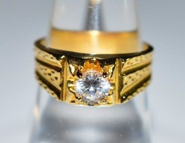 Vintage Gold Tone Clear Rhinestone Solitaire Ring Size 6.25 - $29.70