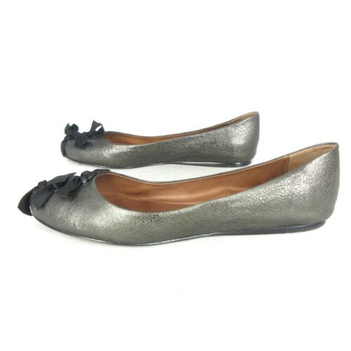 10.5 - LEIFSDOTTIR Anthropologie Pewter $228 LAHJA Ballet Flats w/ Box 0314PM