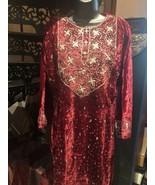 Hand Made Vintage Golden Embroidered Red Velvet Indian Salwar Dress  - $183.15