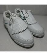 New Etonic St Plus Womens 8 White Steel Spike Golf Shoes Kilt Teal Purple - $74.21
