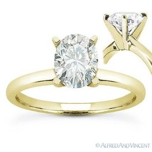 Forever ONE D-E-F Oval Cut Moissanite 14k Yellow Gold Solitaire Engagement Ring - €518,58 EUR - €1.147,69 EUR