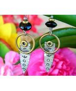 Marcia q miller mixed metal pierced earrings tribal primitive symbols thumbtall