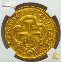 """Spain 1723 8 Escudos """"Only 3 Known!"""" Ngc 55 Gold Doubloon Seville Treasure Coin - $17,500.00"""