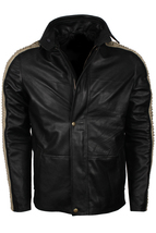 Mens Black Designer Biker Leather Jacket - Black Bomber leather jacket - $149.00