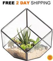 Glass Terrarium Geometric Cube Hanging Container Air Plant box Faceted P... - $22.20
