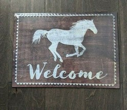 "14"" Open Roads WELCOME White Horse home classic USA STEEL plate display ... - $68.60"