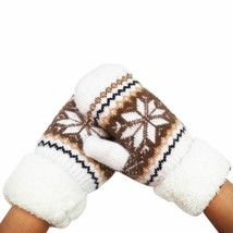 Women Gloves Warm Winter Snow Mittens Snowflakes Knitted Full Wrists Woo... - $7.59