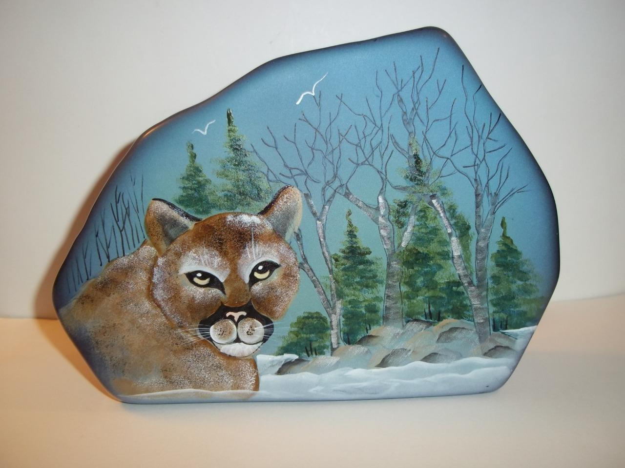 Fenton Glass Mountain Lion Cougar Cat Iceberg Paperweight Lt Ed Kim Barley #5/13