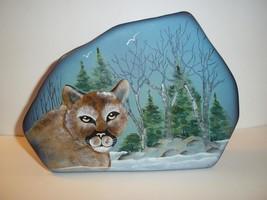 Fenton Glass Mountain Lion Cougar Cat Iceberg Paperweight Lt Ed Kim Barley #5/13 - $242.02