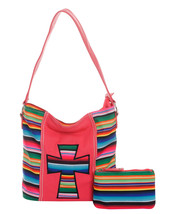 2 Pc Set Serape Striped Cross Tote Purse & Pouch Clutch Wallet Makeup Ba... - $42.56