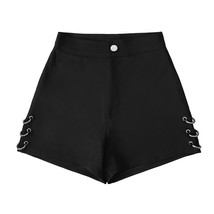Summer Black split Shorts For Women Loose Rings decoration Fashion Shorts Female - $45.20