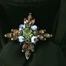 Brown Topaz Rhinestone Brooch Pin Designer Signed Gerard YOSCA Vintage - $38.69