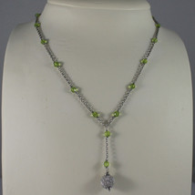 .925 SILVER RHODIUM NECKLACE WITH GREEN CRISTALS AND SILVER SPHERE image 1