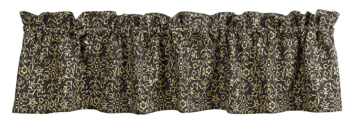 Primary image for Olivia's Heartland EVELYN Black & Tan floral pattern window VALANCE curtain