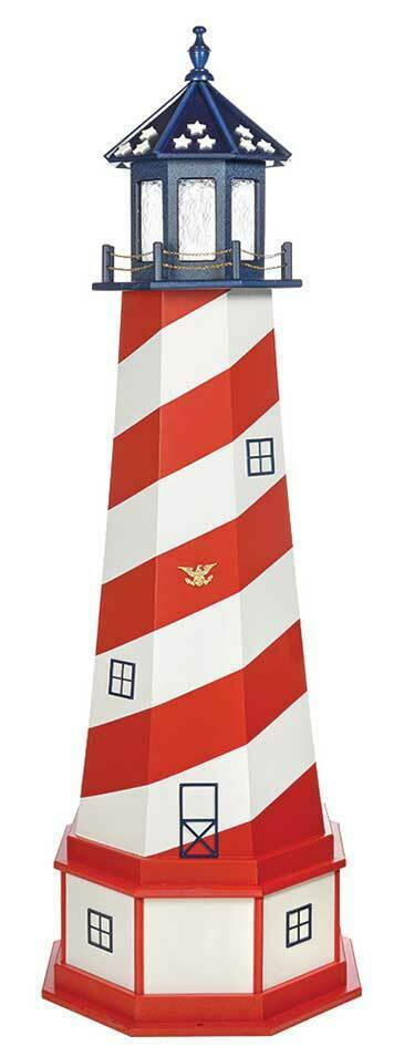 Primary image for PATRIOTIC CAPE HATTERAS LIGHTHOUSE - Red White & Blue USA Flag Working Light