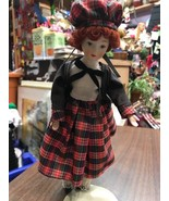 Doll Red Plaid Toy Girl Women Porcelain Figure Statue Figurine Clothes A... - $6.15