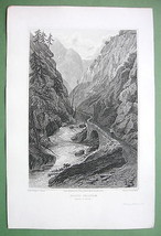 SWITZERLAND Pass of Dazio Grande - Copper Engraving by Mjr Cockburn - $9.90