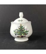 Vintage Nikko Happy Holidays Sugar Bowl with Lid Christmas Tree Blue Bac... - $18.99