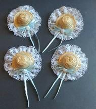 4 Straw Hat Doll Bear Arts Crafts Supplies Close-pin Bow Blue Ribbon Fas... - $18.95