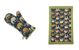 Paio di Sloths Hanging Around Rami Cotone Blu Singolo Guanti da Forno &t... - $32.69