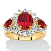 Palm Beach Jewelry Crystal Made With Swarovski Elements 18k Gold-Plated Halo Ring - $27.82