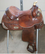 "TEX TAN HEREFORD YOAKUM TX USED ALL AROUND WESTERN HORSE SADDLE 15"" DARK... - $688.00"