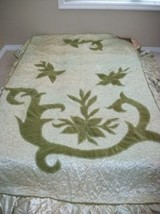 ANTIQUE 20's BEDSPREAD SATIN APPLIQUE TRIO of NY HOLLYWOOD REGENCY PARIS... - $123.49