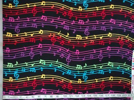 1/2yd music/colorful notes/staff/treble clef on black quilt fabric-free shipping