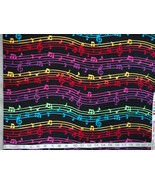 1/2yd music/colorful notes/staff/treble clef on black quilt fabric-free ... - $11.99