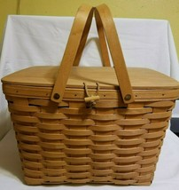 Longaberger 2000 Large Picnic Basket Combo w/ Riser & Liner EUC - $149.99