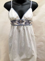 Free People XS Tunic Dress White Blue Toile Empire Waist Unique Sundress - $26.44
